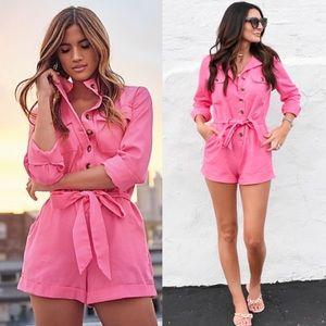 Rocky Barnes x Express Pink Denim Romper